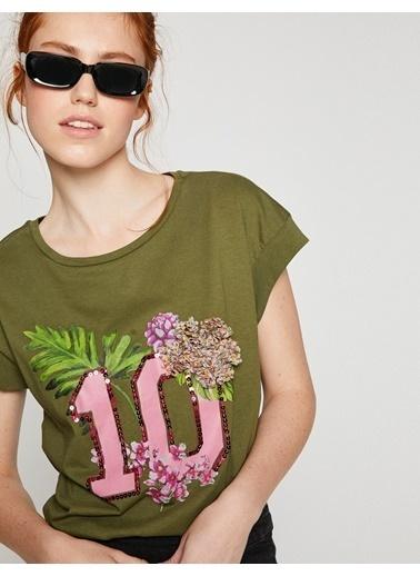 Koton Pul Detaylı T-Shirt Haki